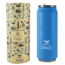 Ποτήρι Ισοθερμικό Ανοξείδωτο Με Καλαμάκι 500ml Γαλάζιο Ματ Save The Aegean