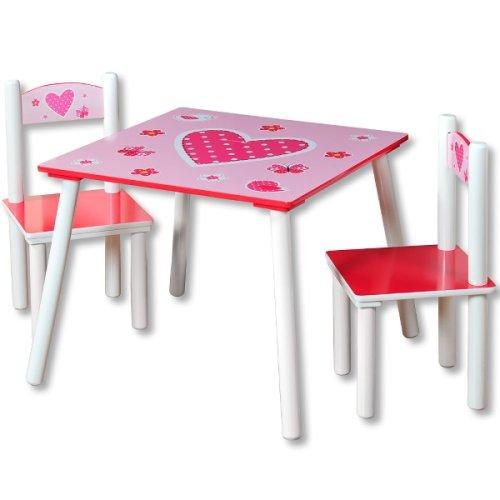 Παιδικό Τραπέζάκι Ξύλινο Ροζ Με Δύο Καρέκλες (Καρδιές)