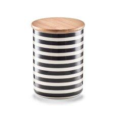 """Κεραμικό Δοχείο Αποθήκευσης 580ml """"Stripes"""" Λευκό - Μαύρο ZPresent"""
