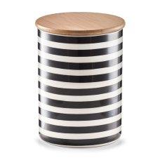 """Κεραμικό Δοχείο Αποθήκευσης 900ml """"Stripes"""" Λευκό - Μαύρο ZPresent"""