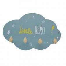 """Κρεμάστρα τοίχου παιδική ξύλινη  Συννεφάκι Μπλε  """"Little Hero"""""""