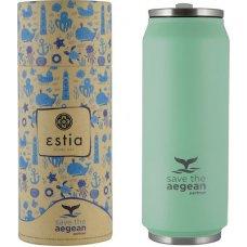 Ποτήρι Ισοθερμικό Ανοξείδωτο Με Καλαμάκι 500ml Πράσινο Παστέλ Ματ Save The Aegean