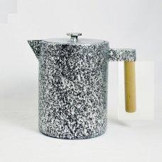 Τσαγιέρα - Κανάτα Μαντεμένια ja Kohi 1,2L Με Ξύλινο Χεράκι Ασημι-Μαύρη