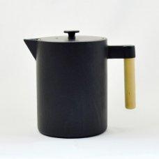 Τσαγιέρα - Κανάτα Μαντεμένια ja Kohi 1,2L Με Ξύλινο Χεράκι Μαύρη