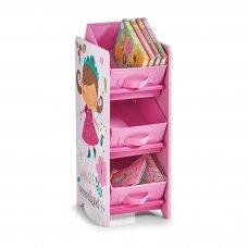 Παιδική Ραφιέρα Με Τρεις Θήκες Αποθήκευσης Παιχνιδιών Ρόζ (Κορίτσι)