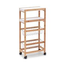 Τρόλεϋ Κουζίνας Με Δύο Ράφια Και Δύο Πτυσσόμενα Καλάθια Bamboo Zpresent 40 x 22 x 83 εκ